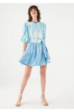 Mavi Kadın terranean Nazar Boncuğu Detaylı Batik Elbise 131129-35158