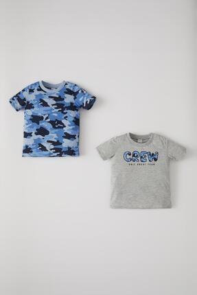 DeFacto Erkek Bebek Kamuflaj Desenli 2'li Paket Kısa Kol Tişört
