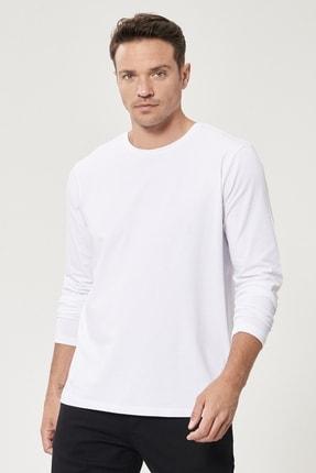 ALTINYILDIZ CLASSICS Erkek Beyaz Standart Fit Günlük Rahat Bisiklet Yaka Spor Sweatshirt