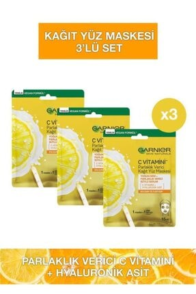 Garnier C Vitamini Parlaklık Verici Kağıt Yüz Maskesi 3'lü Set