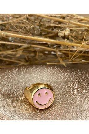 Markiz Takı Kadın  Gold Açık Pembe Smile Yüzük