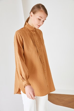 Trendyol Modest Kahverengi Dik Yaka Tunik TCTSS21TN0132