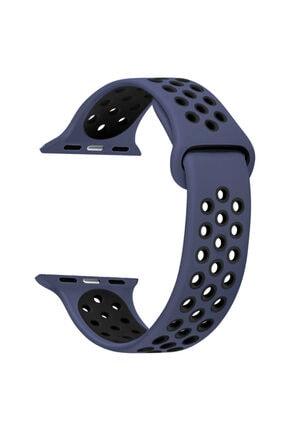 Apple Microsonic Watch Series 6 44mm Uyumlu Rainbow Sport Band Kordon Lacivert Siyah