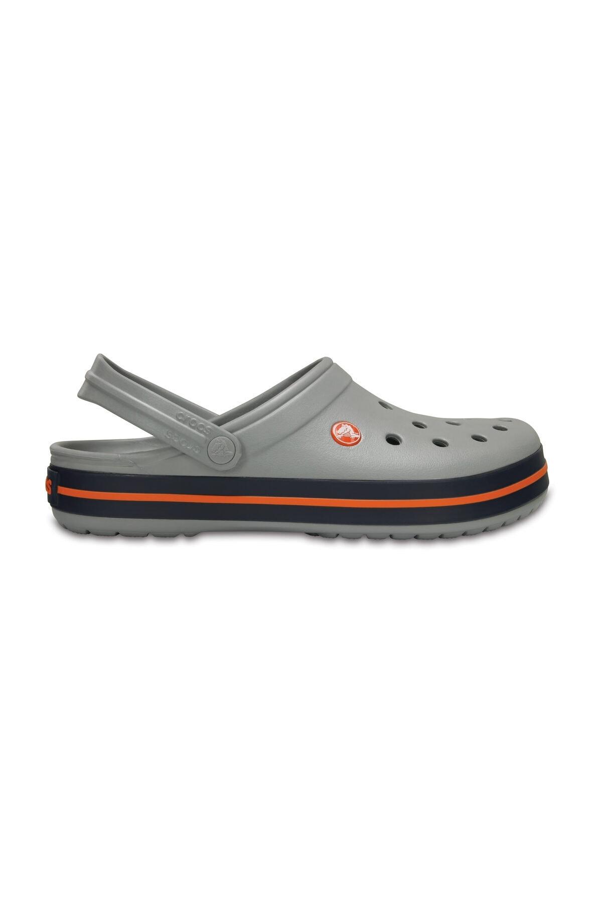 Crocs Gri Unisex Crocband Kenarı Turuncu Çizgili Terlik 1