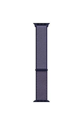 Apple Microsonic Watch Series 5 44mm Hasırlı Kordon Woven Sport Loop Midnight Blue
