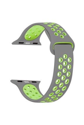 Apple Microsonic Watch Series 1 38mm Rainbow Sport Band Kordon Gri Yeşil