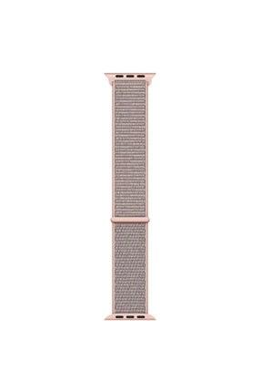 Apple Microsonic Watch Series 3 42mm Hasırlı Woven Sport Loop Pink Sand Kordon