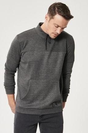 AC&Co / Altınyıldız Classics Erkek Gri Standart Fit Günlük Rahat Fermuarlı Bato Yaka Spor Sweatshirt