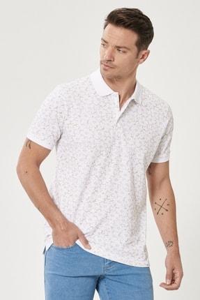 ALTINYILDIZ CLASSICS Erkek Beyaz-Bej Polo Yaka Cepsiz Slim Fit Dar Kesim %100 Koton Desenli Tişört