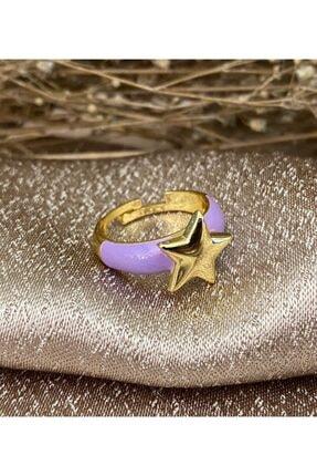 Markiz Takı Kadın Ayarlanabilir Lila Yıldız Yüzük