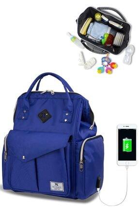 My Valice Smart Bag Happy Mom Usb'li Anne Bebek Bakım Ve Sırt Çantası Sax Mavi