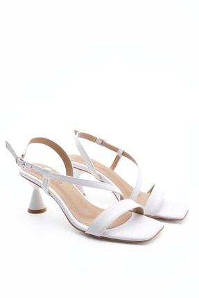 Marjin Kadın Beyaz Tek Bant Topuklu Ayakkabı