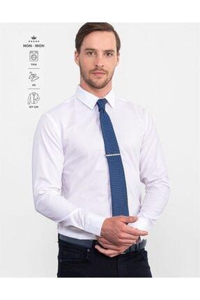 Tudors Slim Fit Non Iron Beyaz Erkek Gömlek