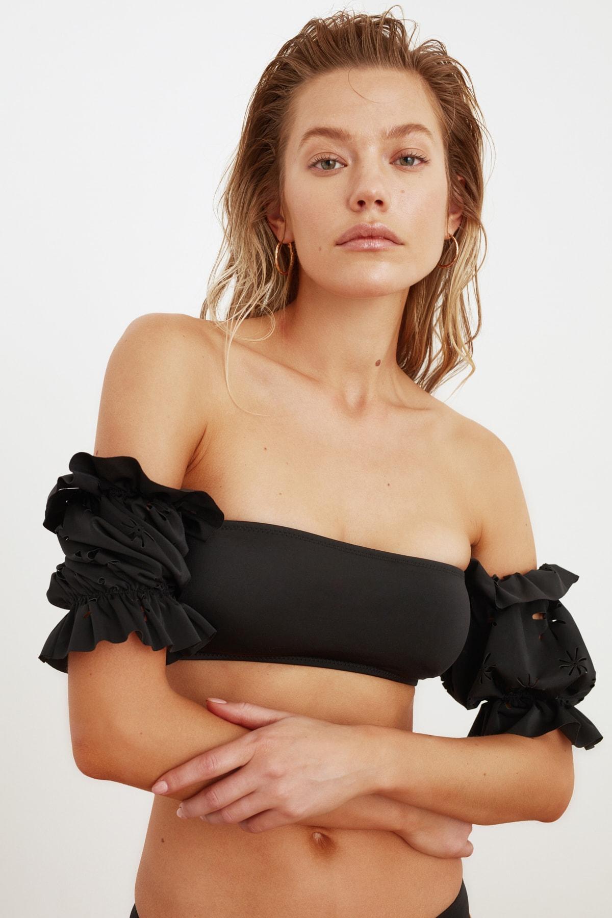 TRENDYOLMİLLA Siyah  Lazer Kesimli Kollu Bikini Üstü TBESS21BU0060 2