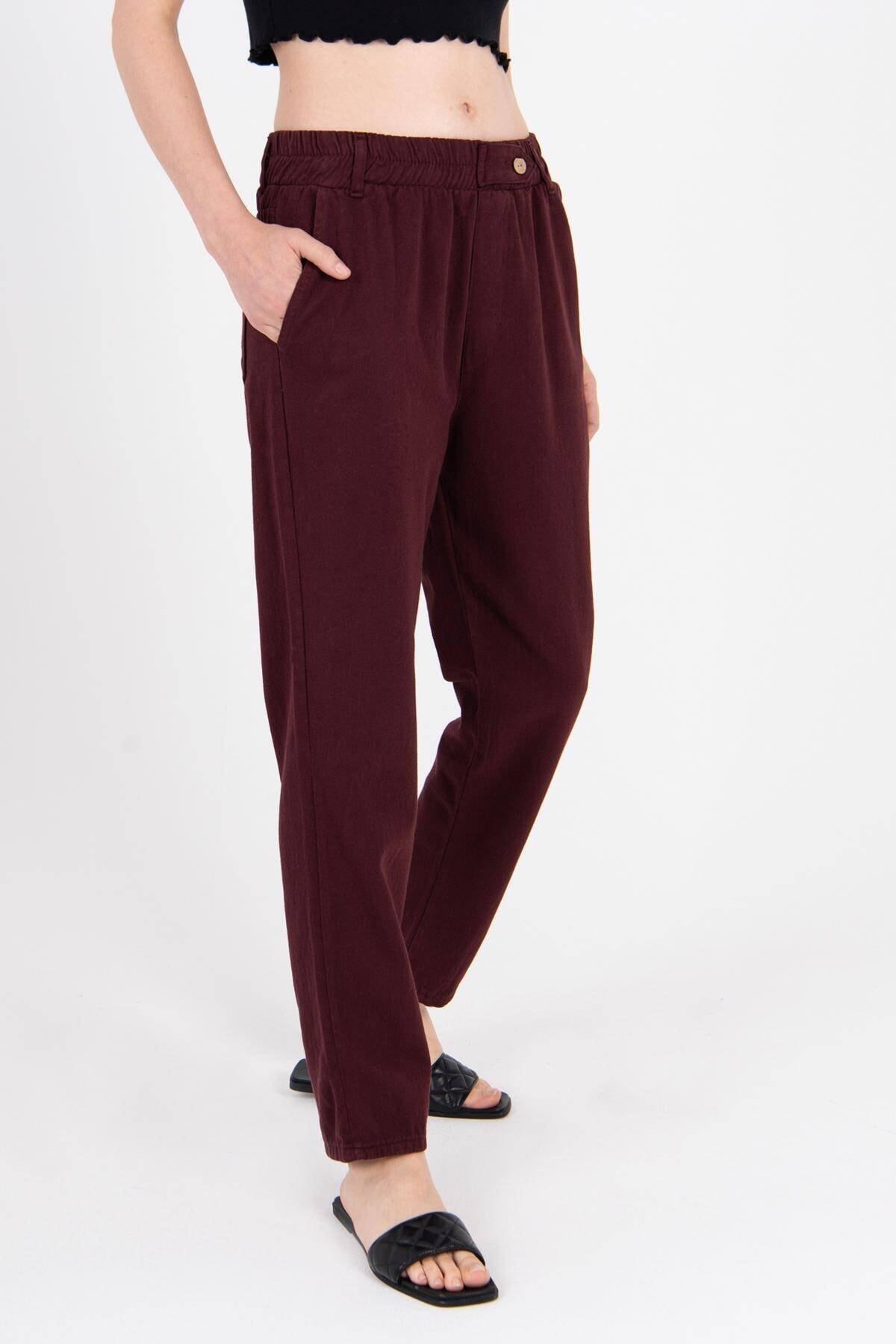 Addax Kadın Bordo Düğme Detaylı Pantolon Pn4191 - Pni ADX-0000021486
