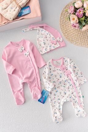 Babymod Kız Bebek Tulum Çiçek Desenli Ikili Uzun Kollu  Takım