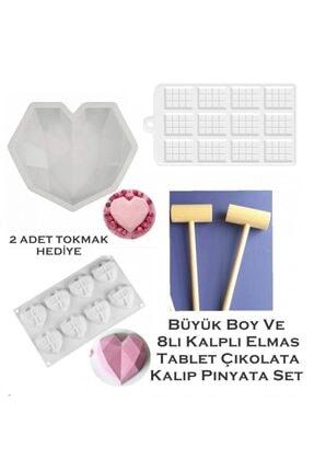 DMS DEKOR Büyük Boy Elmas Kalp 8 Li Elmas Kalp Tablet Çikolata Kalıbı Pinyata Set