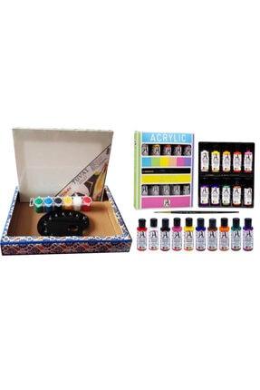 Mahi Max Ilk Resmim Collex Tuval-boya-palet Set + Südor Fırçalı 10 Renk Akrilik Boya Seti 10x40 Ml
