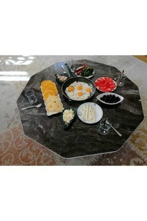 HOMEBELLA 90 Cm Mermer Desen Ahşap Katlanabilir Kilit Sistemli Çelik Ayaklı Yer Sofrası,yemek Masası