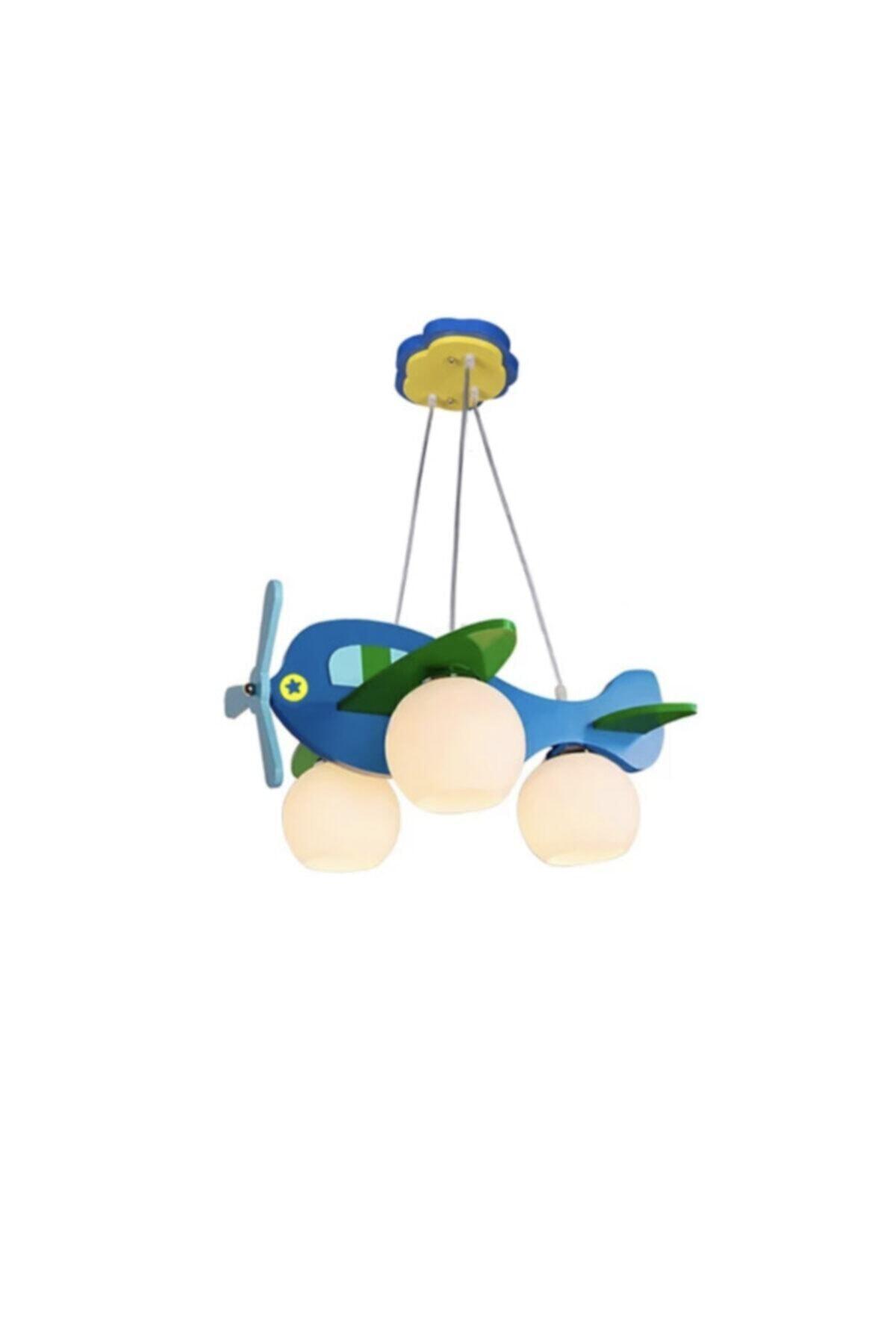 ışıksan aydınlatma Çocuk Odası Avize Helikopter Sarkıt Üçlü Mavi Yeşil 2