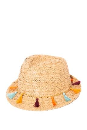 Mavi Püskül Detaylı Hasır Şapka