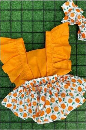 tektiklagiyin Kız Çocuk Turuncu Portakal Desenli Slopet Takımı