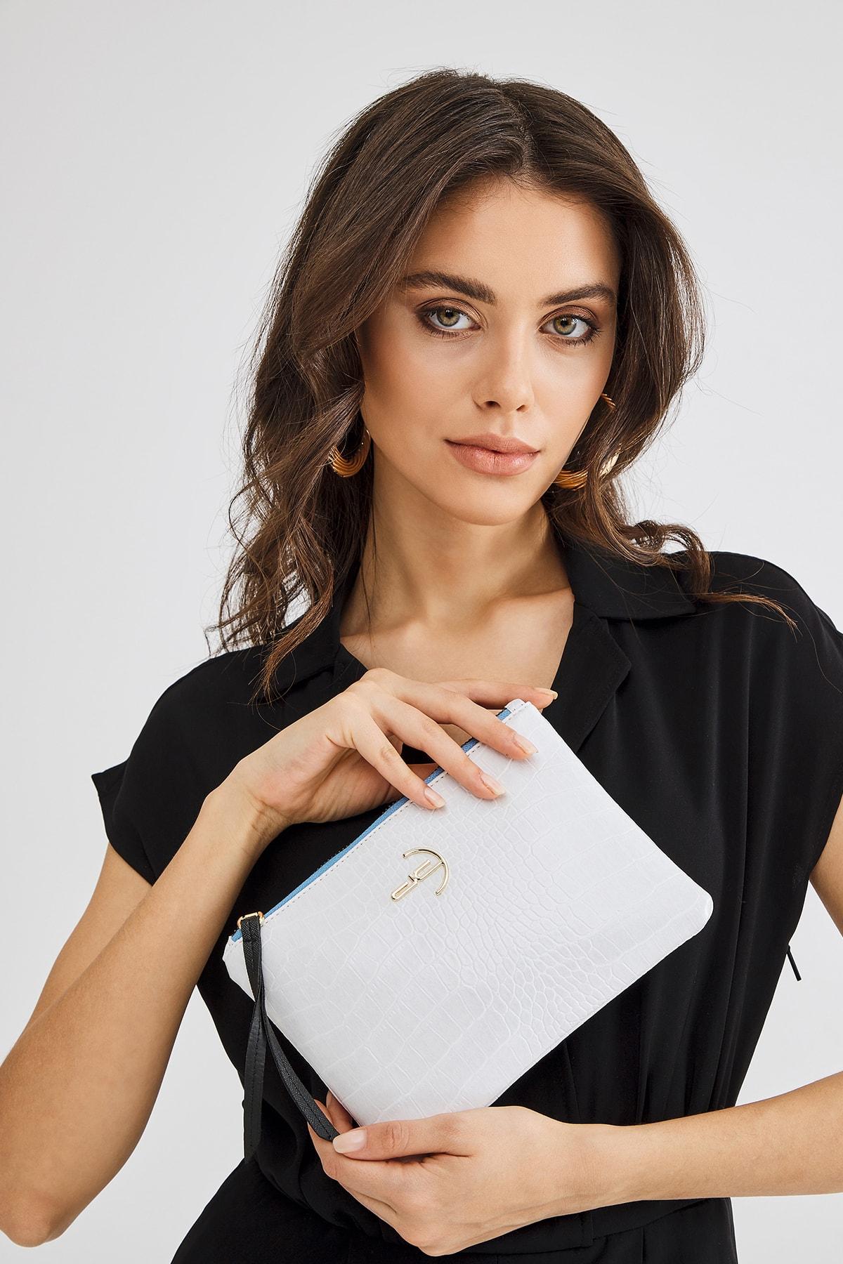Deri Company Soft Kroko Beyaz Clutch El Çantası 1