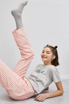 Koton Kadın Kadin Gri Pembe Çizgili Pijama Takımı