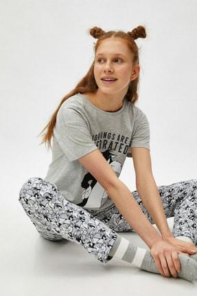 Koton Kadın Gri Tom Jerry Lisanslı Pamuklu Pijama Takımı