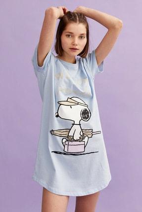 Koton Snoopy Baskili Gecelik Pamuklu Bisiklet Yaka Kisa Kollu