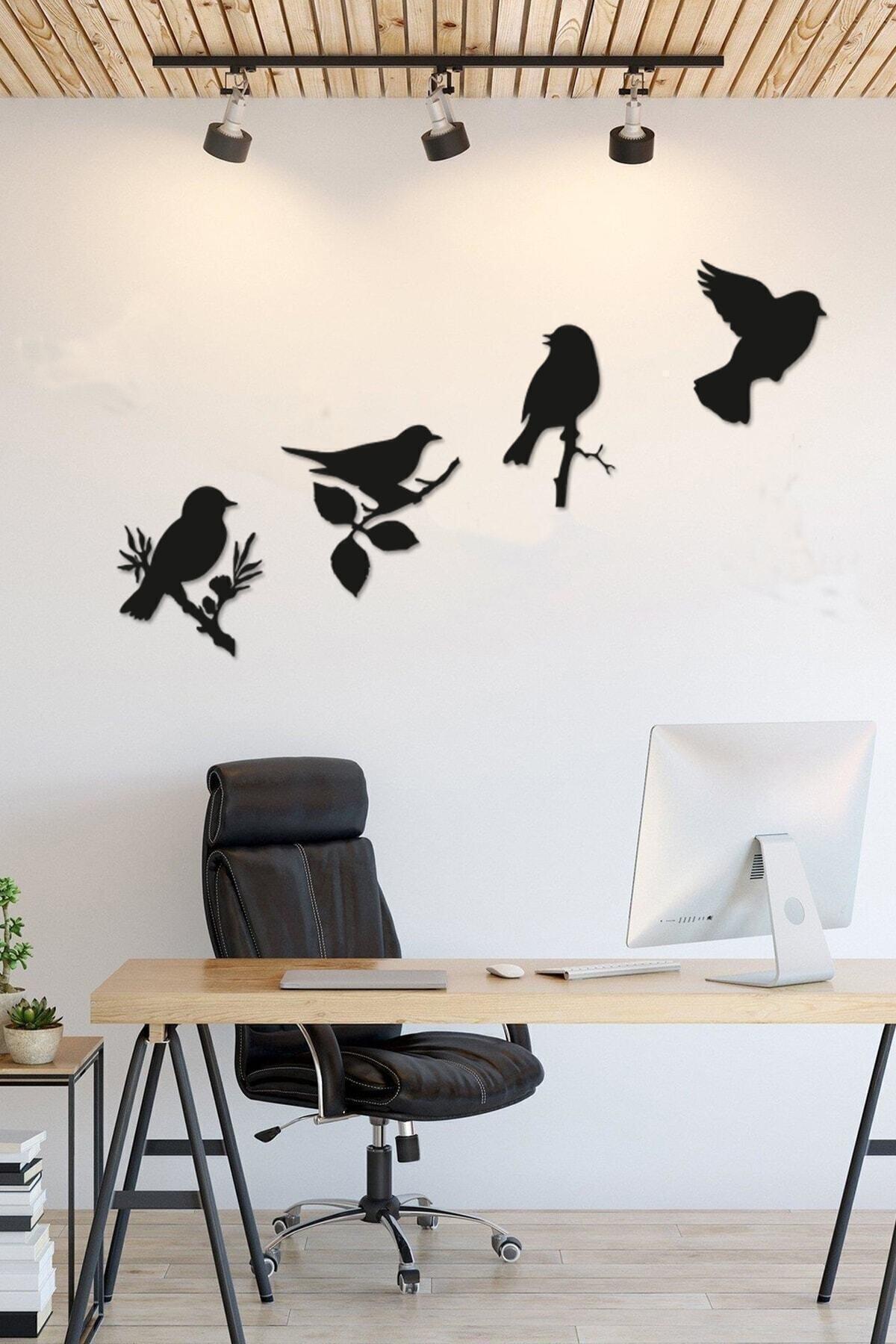 RetroLazer Dekoratif Modern Dörtlü Kuş Duvar Süsüyeni Duvar Dekoru 2