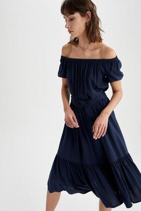 DeFacto Kadın Lacivert Volan Detaylı Carmen Yaka Midi Kemerli Elbise U7555AZ21SM