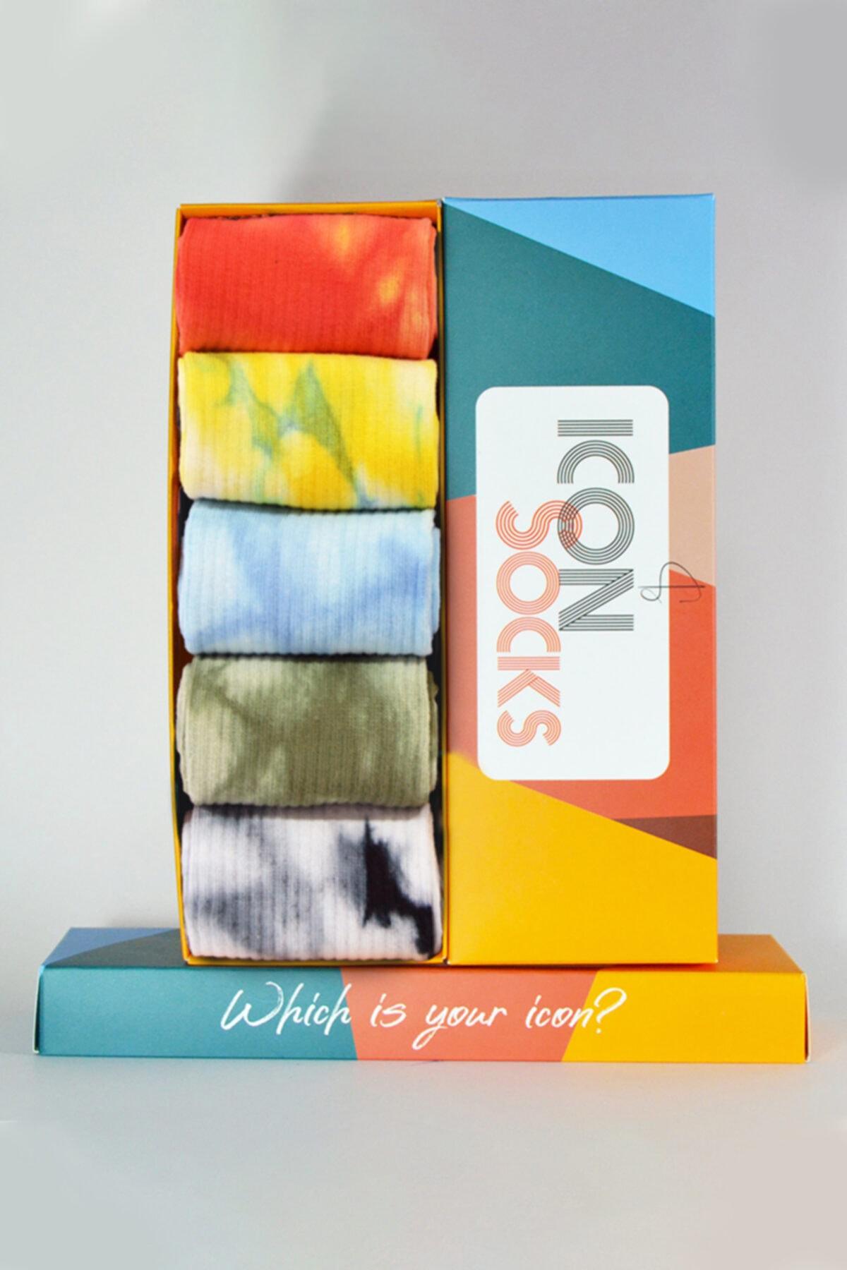 iconsocks Unisex Renkli Cuba Batik Özel Kutulu Tasarım Çoraplar 2