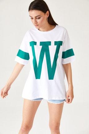 oshebu Kadın Harf Baskılı Oversize Tshirt