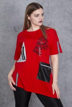 Şans Kadın Kırmızı Ön Baskı Ve Garni Detaylı Bluz 65N24047