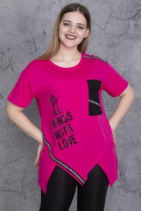 Şans Kadın Fuşya Ön Baskı Ve Garni Detaylı Bluz 65N24046