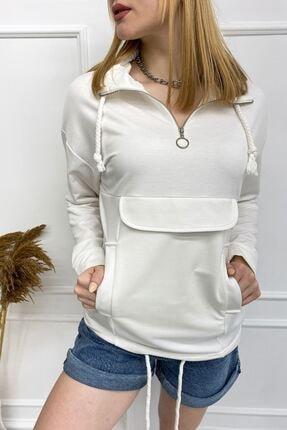 Eka 0302-7001 Fermuarlı Cep Kapaklı Tunik Oversize Ekru Sweatshirt