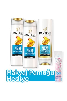 Pantene Nem Terapisi Şampuan 500 ml  x 2 + Saç Bakım Kremi 470 ml  + Makyaj Pamugu Hediye