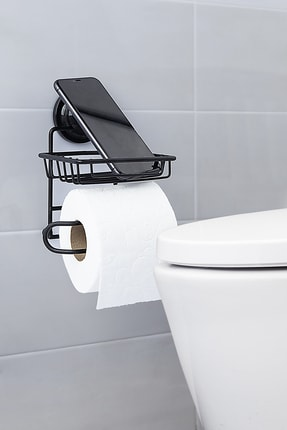 vipgross Mat Siyah Vakumlu Yedekli Tuvalet Kağıtlık Vs714