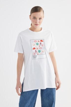 Trendyol Modest Beyaz Baskılı Örme T-Shirt-Tunik TCTSS21TN0271