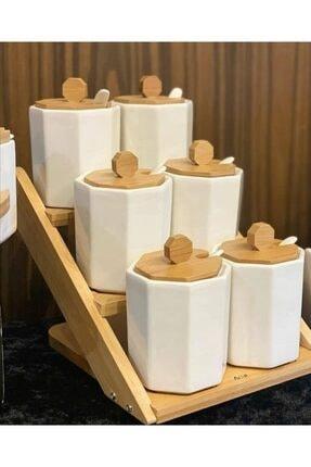 ACAR Acr Porselen 3 Katlı 6 Lı Altıgen Baharat Takımı