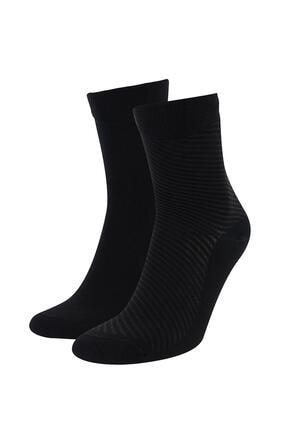 DeFacto Erkek Siyah Bambu Soket Çorap 2'li