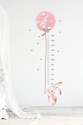 KT Decor Balonlu Tavşan Boy Ölçer Duvar Sticker Seti