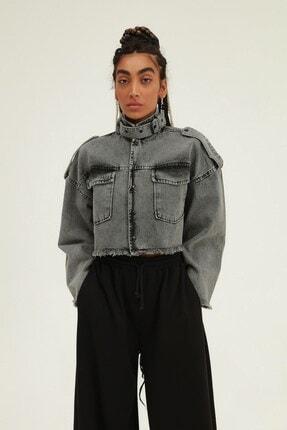 Quzu Kadın Gri Oversize Crop Kot Ceket