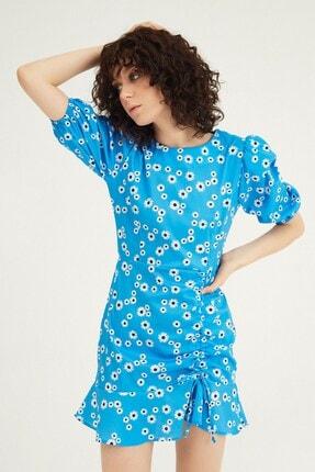 Quzu Çiçekli Büzgülü Mini Elbise Mavi