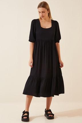 Happiness İst. Kadın Siyah Kare Yaka Uzun Elbise DD00908
