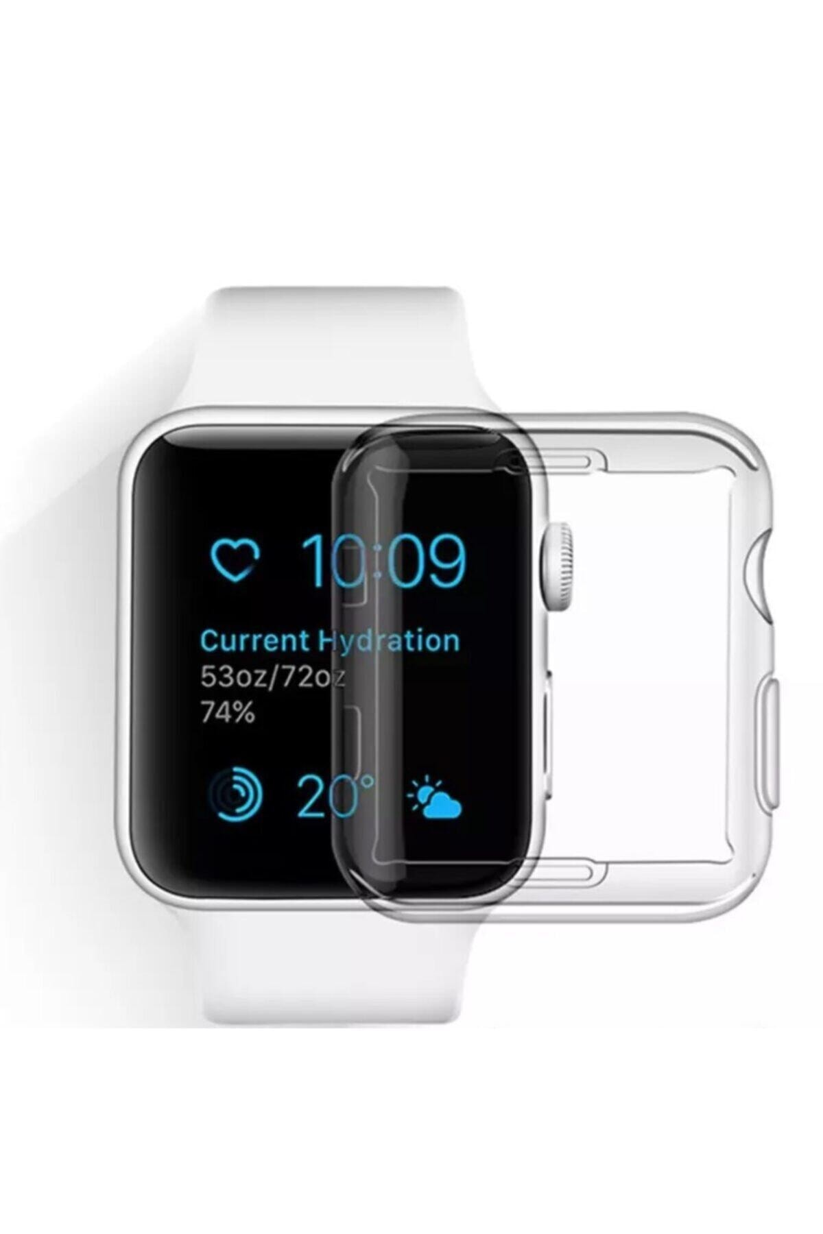 ucuzmi Apple Watch 1 2 3 4 5 6 Se Serisi ( 44mm ) 360 Tam Koruma Şeffaf Silikon Kılıf Premium Model 1