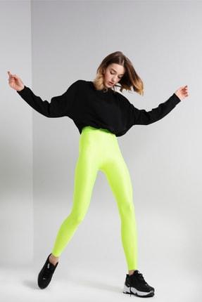 taytbutikcom Kadın Shiny Tam Parlak Uzun Boy Neon Yeşil Tayt
