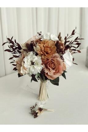 Almila Store Yeni Sezon Toprak Mucizesi Gelin Buketi Damat Yaka Çiçeği Yapay Çiçek Kuru Ot