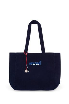 Mavi Terranean Nazar Boncuğu Detaylı Lacivert Çanta
